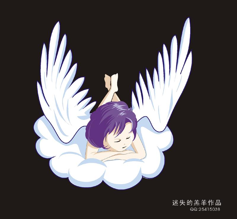 动漫天使翅膀手绘图片