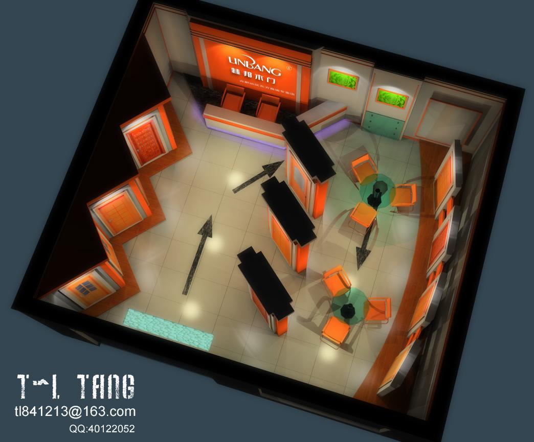 林邦木门专卖店展厅室内效果图