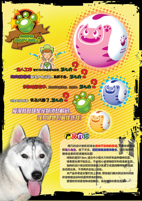 宠物玩具球海报和宣传页(4天)